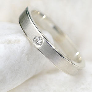 Diamond Wedding Ring In Sterling Silver - rings