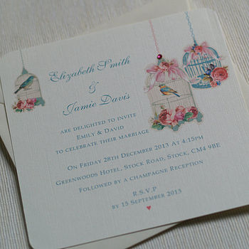 Vintage Blossom Flat Wedding Invitations