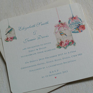 Vintage Blossom Flat Wedding Invitations - wedding stationery