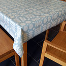 Blue Welsh Blanket Print Oilcloth Tablecloth