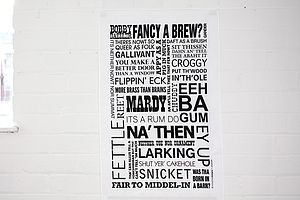 Yorkshire Dialect Modern Tea Towel - kitchen