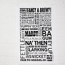 Thumb dialect tea towel range