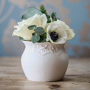 Porcelain Posy Vase With Lace Design