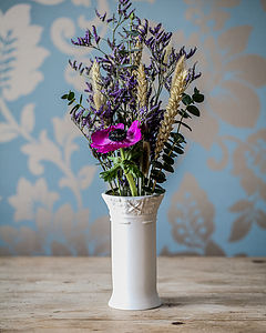 Porcelain Bud Vase With Fabric Design