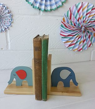 Vintage Baby Wooden Elephant Book Ends