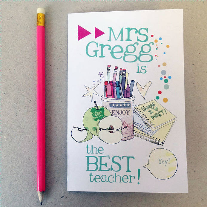 personalised thank you teacher card by alice palace