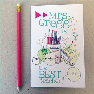 Personalised Thank You Teacher Card - birthday cards