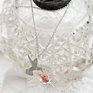 Hummingbird And Flower Necklace - necklaces & pendants