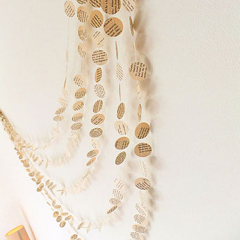 Old Book Page Paper Garland