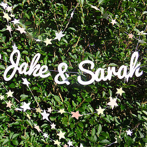 Personalised Names Wedding Paper Garland - room decorations