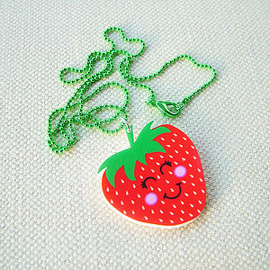 Strawberry Acrylic Fashion Necklace - gifts for teenagers