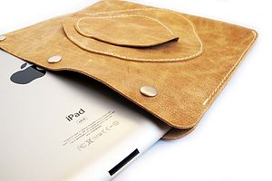 Leather Case For Ipad Three With Pockets - laptop bags & cases