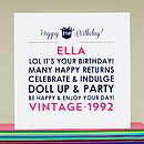 Personalised 'Vintage Age' Birthday Card