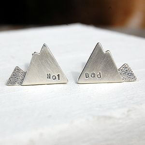 Personalised Silver Mountain Cufflinks - wedding fashion