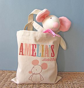 Personalised Tote Bag With Knitted Mouse - children's room