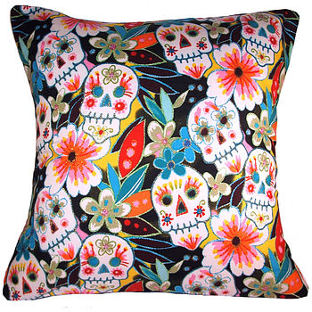 Cool Retro Modern Skulls Black Cushion