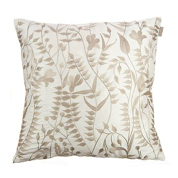 Lola Embroidered Silk Cushion Off White