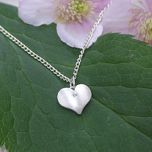 Silver Heart Pendant With Diamond - women's jewellery