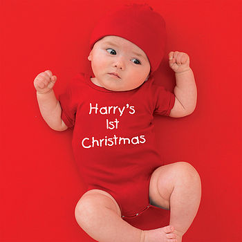 Red babygrow with White print, kids font