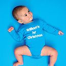 Aqua Blue Babygrow with White print, Porky's font