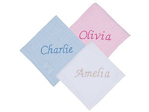 Baby's Personalised Embroidered Muslin