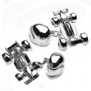 Silver Plated Motor Racing Cufflinks