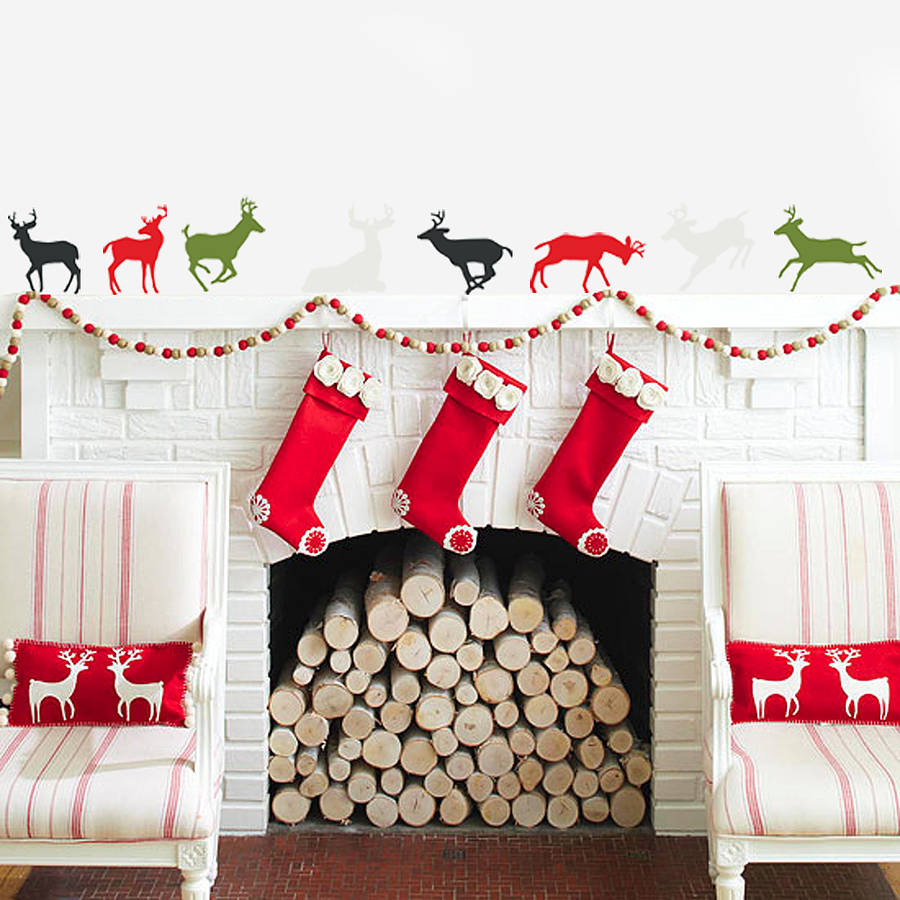 'christmas reindeer' vinyl wall stickers by oakdene ...