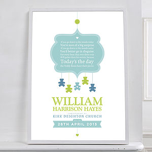 Personalised Teddy Bear Christening Print