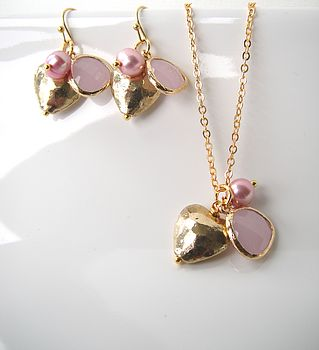 Gold Pink Heart Jewellery Set