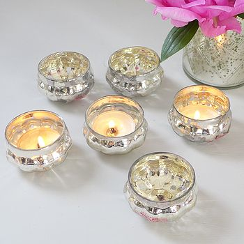 Set Of Six Pumpkin Glass Tea Light Holders