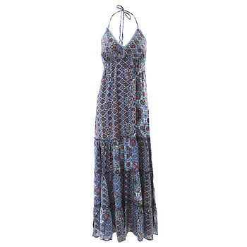 Aqua Halterneck Maxi Dress