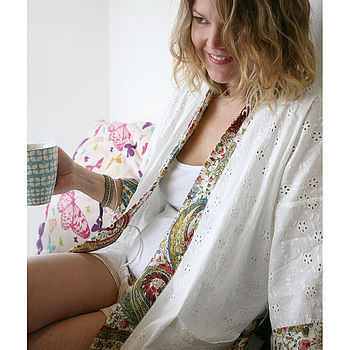 'Sugar Carnival' Silk Trim Dressing Gown