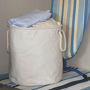 Portable Natural Canvas Laundry Basket