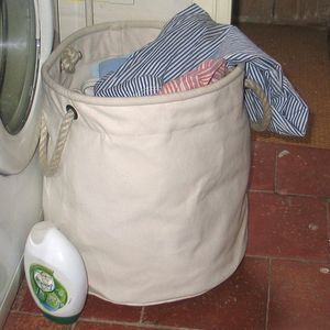 Portable Natural Canvas Laundry Basket - bedroom