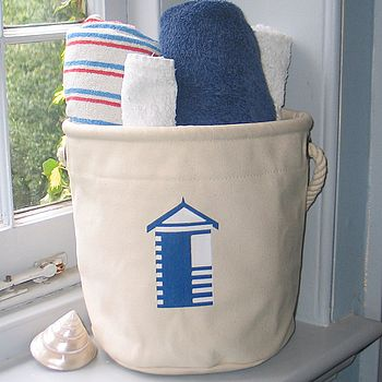 Canvas Home Storage Bag, Beach Hut Design