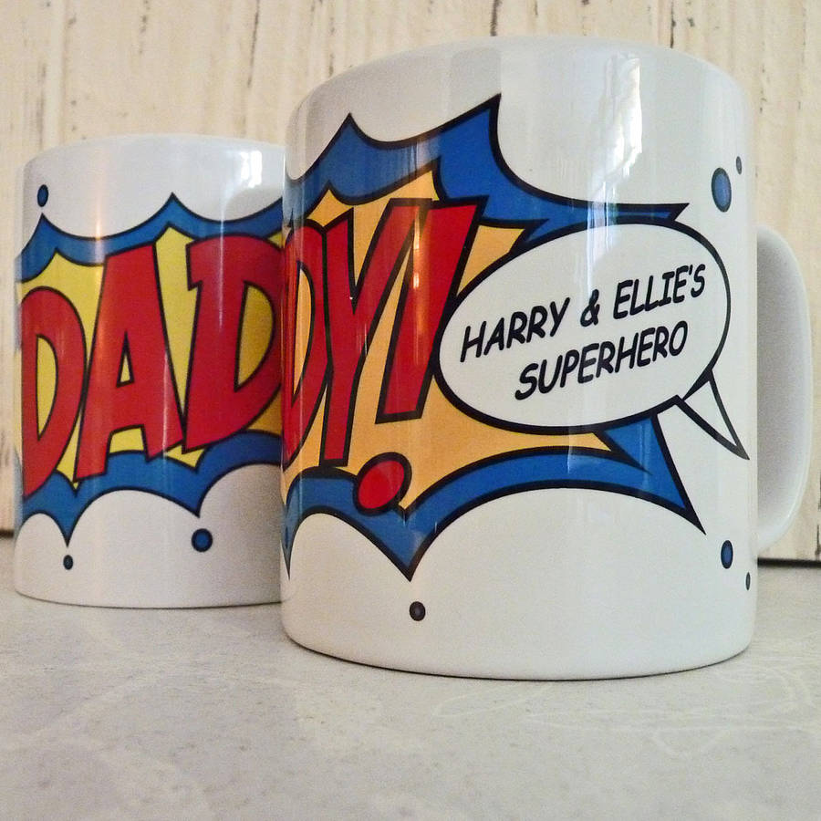 personalised comic hero mug for dad by delightful living ...