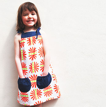Girls Scandinavian Print Summer Dress