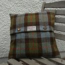 Harris Tweed Check Cushion - brown check with horn buttons