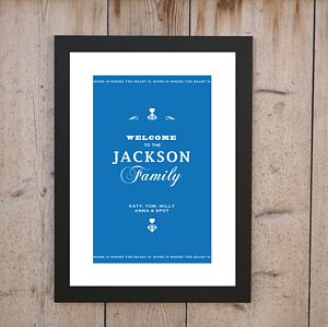 Personalised Family Welcome Print - gifts for families