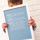 Personalised Teacher Dictionary Print