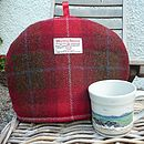 Harris Tweed Tea Cosy - red check
