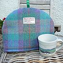Harris Tweed Tea Cosy - purple/green check