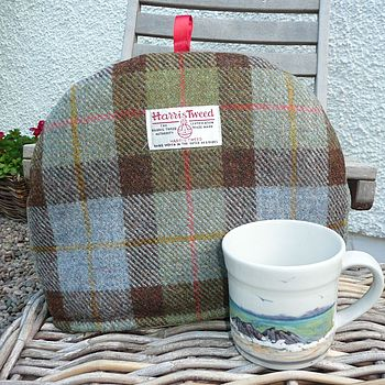 Harris Tweed Tea Cosy - brown check