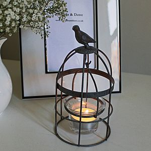 Grey Vintage Little Bird Cage Tea Light Holder - occasional supplies