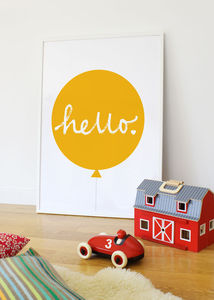 'Hello' Balloon Print Many Colours - our 100 favourite children's prints