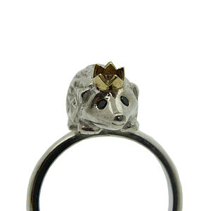 Hedgehog Ring. Silver, Gold & Black Diamonds