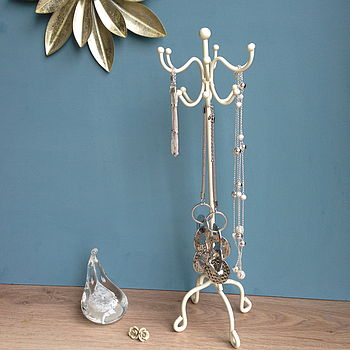 'Coat Stand' Style Jewellery Stand In Cream