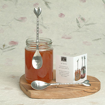 Personalised Hand Stamped Heart Jam Jar Spoon