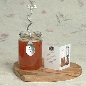 Personalised Hand Stamped Bee Honey Jar Spoon - 25th anniversary: silver