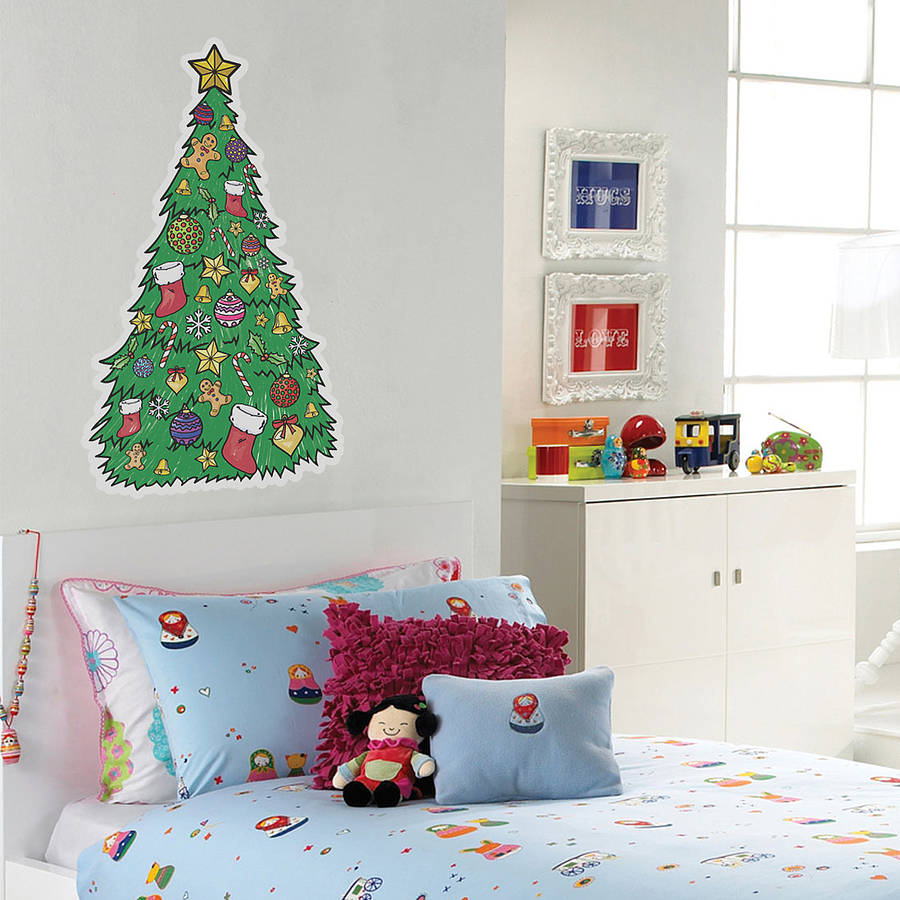 colour in christmas tree wall sticker by oakdene designs personalised bird s nest tree wall stickers by parkins